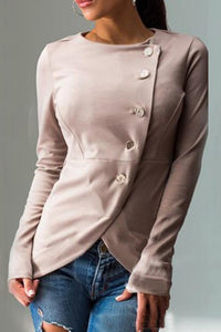 Round Neck Single Breasted  Plain Blouse