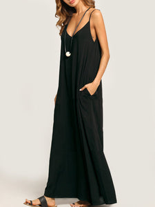 Summer Spaghetti Strap Pocket Plain Maxi Casual Dress