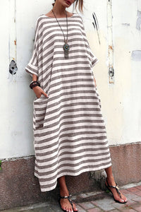Oversized Striped Round Neck Pocket Maxi Casual Dress