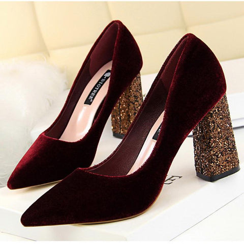 Sexy Sequins Suede Pointed Tip Wedding Party High Heel