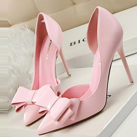 Sweet Bowknot Pointed Mouth Wedding High Heel Shoes