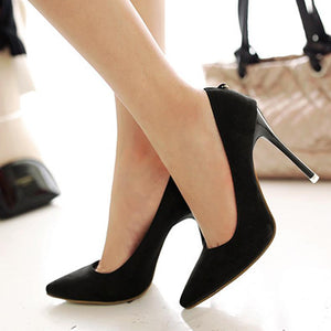 Suede Pointed Shallow Mouth High Heel