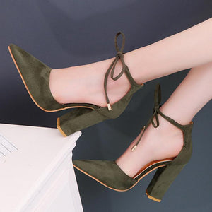 Elegant Suede Wedding Party High Heels