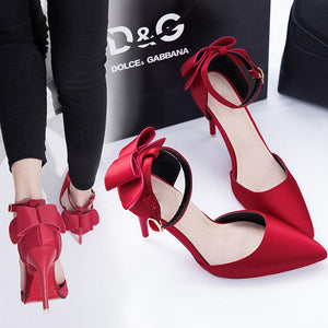 Elegant Bow-Knot Pointed-Toe Wedding High Heels