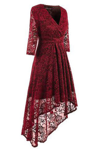 V Collar Lace Evening Skater Dress