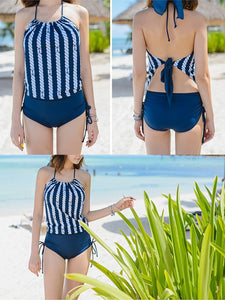 Tie Collar  Backless  Striped One Piece
