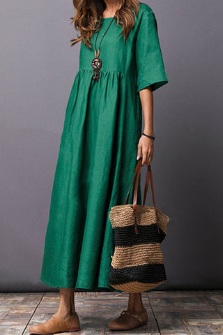 Flash Sale Round Neck Plain  Cotton/Linen Maxi Casual Dress