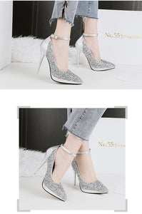 11.5 Cm Sequins Fashion Pointed Toe Slim Heels Shoes