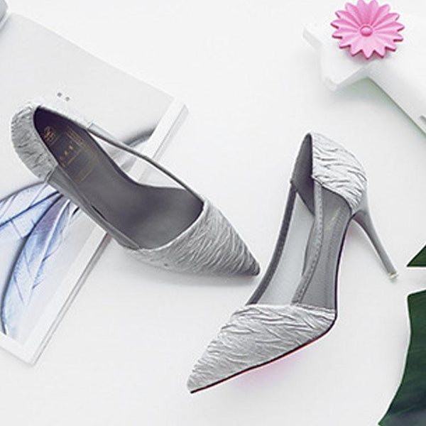 Elegant Pointed Silk Slim Heels Shoes