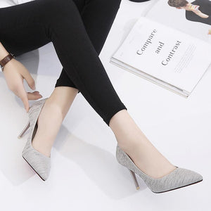 9Cm Pure Color Pointed Toe High Heel Shoes