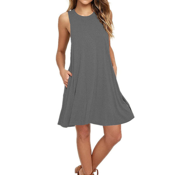 Sleeveless Round Collar Solid Color Skater Dress With Pockets