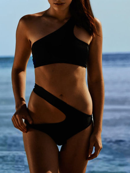 One Shoulder  Plain Bikini