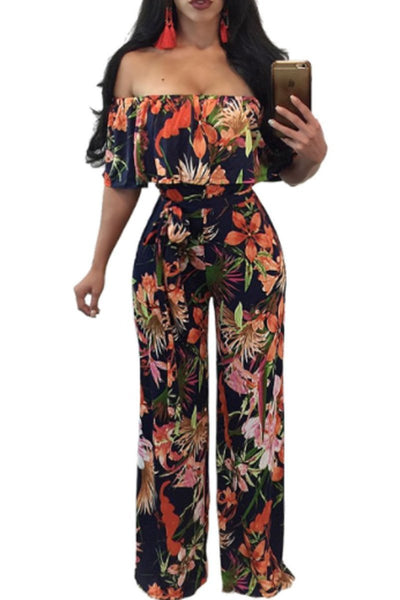 Collarless  Printed Jumpsuits