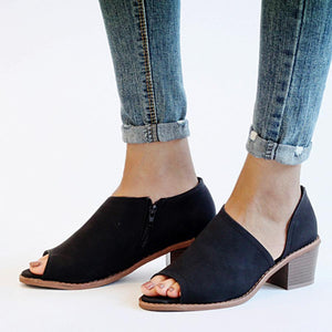 Chunky Mid Heeled Peep Toe Casual Sandals