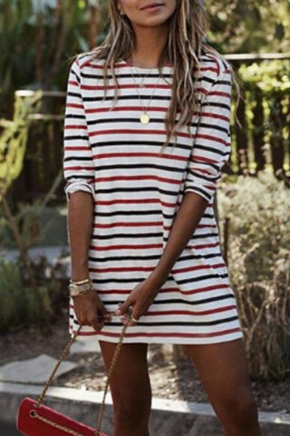 Round Neck Striped Long Sleeve Casual Mini Dresses