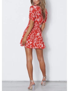 Red Random Floral Print V Neck Short Sleeves Mini Dresses