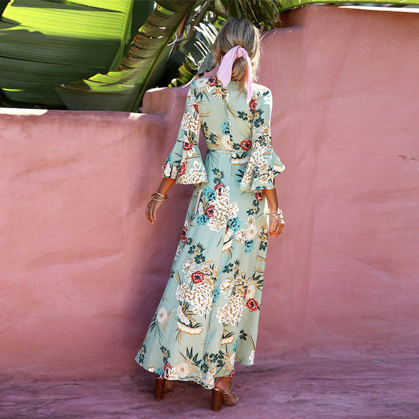 Sexy Elegant Floral Print Half Sleeves Maxi Dress