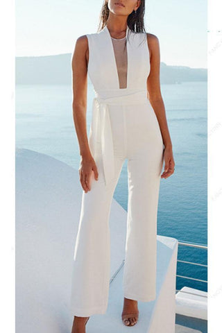 Crew Neck  Cutout  Belt  Plain  Sleeveless Jumpsuits