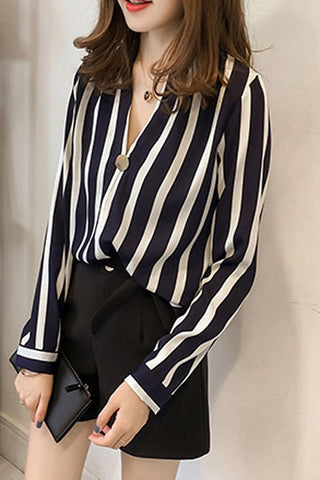 Autumn Polyester Women V-Neck Striped Blouses