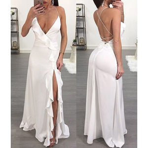 Solid Color Sexy V Collar Open Back Fungus Side Sleeveless Long Evening Dress