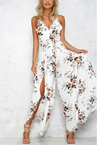 Floral Print Sleeveless Dress Jumpsuit Rompers