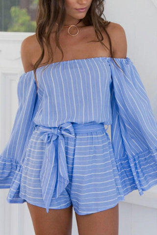 Off Shoulder Stripe Wide Leg Rompers