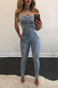 Stylish Halter Neck Denim Jumpsuits