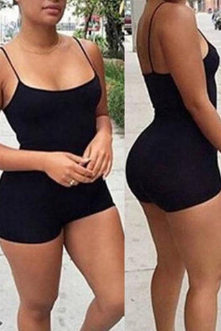 Black Casual Sporty Spaghetti Strap Cotton Romper