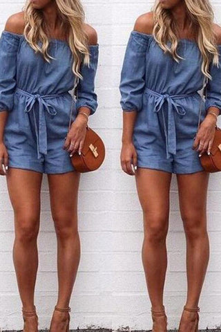 Off Shoulder Bowknot Denim Romper