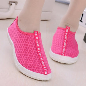 Plain  Flat  Mesh  Round Toe  Casual Sport Sneakers