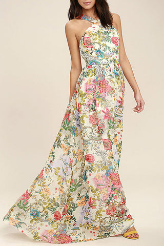 Bohemian Sexy Strap Backless Printing Vacation Maxi Dress