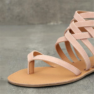 Large Size Zipper Casual Hollow-Out Flat Heel Sandals