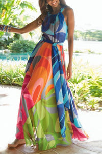 Halter Neck Floral Print Vacation Maxi Dress