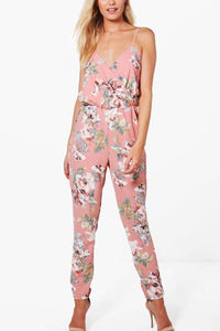 Fashion Spaghetti Strap Floral Print Jumpsuit Rompers