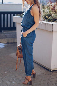Sexy Fashion Sleeveless Denim Jumpsuit