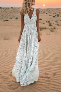 V-Neck Printed Polka Dot Bohemian Maxi Casual Dress