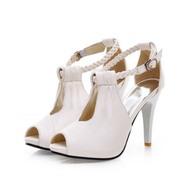 Sexy Peep Toe PU Sandals Women Buckle Strap High Stiletto Heel Pumps