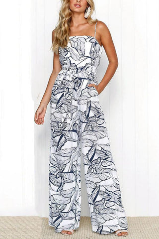 Sexy Fashion Sleeveless Floral Print Jumpsuit Rompers
