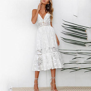 Sexy White Sleeveless Lace Maxi Vacation  Dress