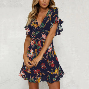 Sexy Short Sleeves Floral Print Mini Casual Dress