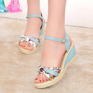 Floral  High Heeled  Ankle Strap  Peep Toe  Date Office Wedge Sandals