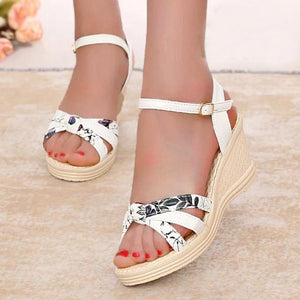 d8f86001e632 Floral High Heeled Ankle Strap Peep Toe Date Office Wedge Sandals