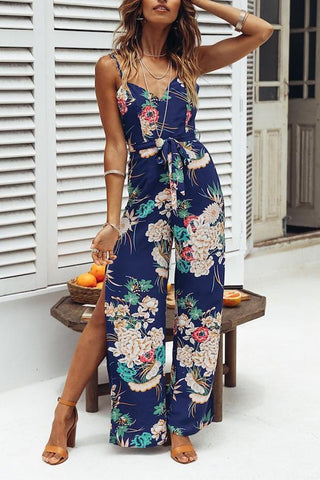 Sexy Blue Floral Print Sleeveless Jumpsuit Rompers