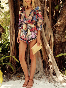 Casual Print Beach Floral Jumpsuit Rompers