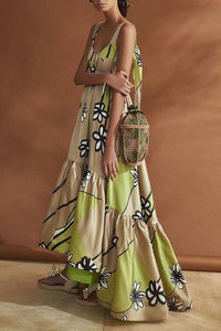 Flash Sale  Stylish Apricot Floral Print Maxi Dress