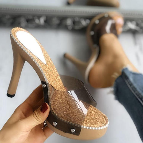 Casual Transparent Crystal Glue Wine Glasses Heel Sandals