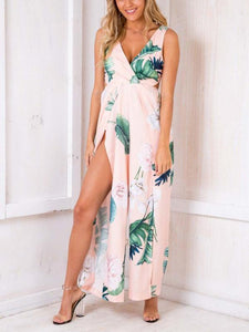 Digital Floral Print Off-Shoulder V Neck Jumpsuit Rompers