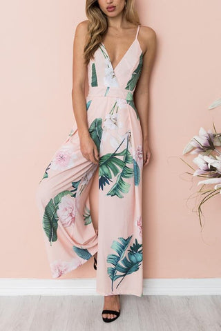 Fashion Stripe Sleeveless Floral Jumpsuits Rompers