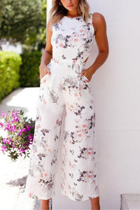 Fashion Floral Print Sleeveless Jumpsuit Rompers
