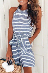 Fashion Casual Sleeveless Stripe Rompers Jumpsuit